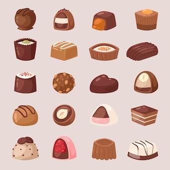 背景に分離されたcandyshopセットでおいしいチョコトリュフの菓子店イラストでココアとチョコレート菓子甘い菓子デザート