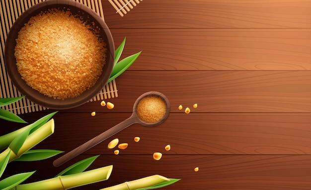 Composizione realistica colorata di zucchero di canna con cucchiaio e ciotola di zucchero e posto per il testo
