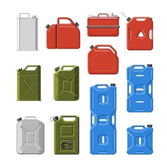 キャニスタージェリカンまたは白い背景で隔離のカニキンのガソリンまたはオイルのイラストセットと自動車およびプラスチックジェリカンの燃料ガソリンの缶