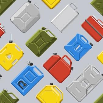 キャニスタージェリカンまたはcannikinシームレスパターンのガソリンまたはオイルのイラストセットと自動車およびプラスチックジェリカンの燃料ガソリンの缶