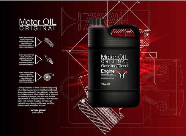 Canister oil bottle engine, oil background,  illustration