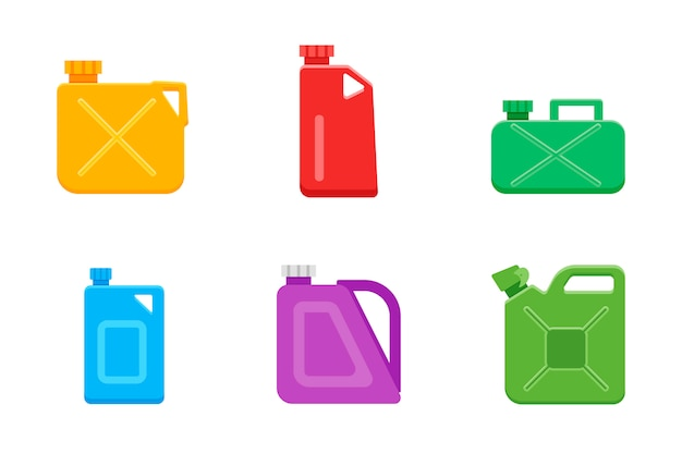 Canisters or jerrycan icons set