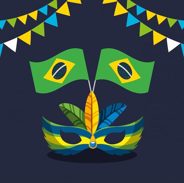 Canival of rio brazilian celebration with flag illustration