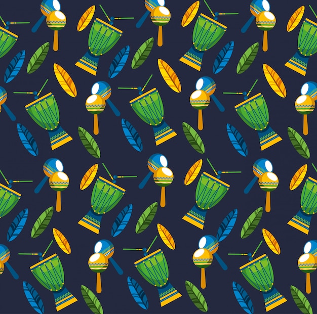 Canival of rio brazilian celebration with musical instruments seamless pattern