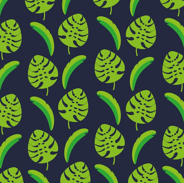 Canival of rio brazilian celebration with tropical leafs seamless pattern