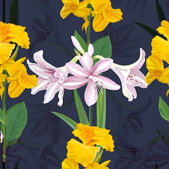 Canna lily and hippeastrum flower seamless pattern  illustration