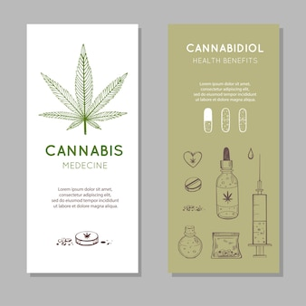 カンナビジオールの健康はバナーに利益をもたらします。医療大麻マリファナの手描きセット