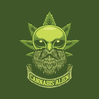Cannabis alien logo template