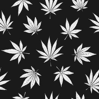 大麻とマリファナの葉のシームレスパターン