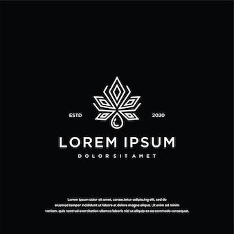 대마초와 기름 로고 디자인 아이콘 개념