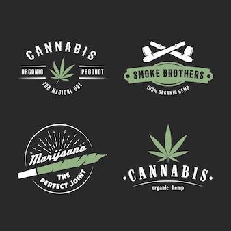 さまざまな喫煙デバイスとロゴの大麻バッジセット