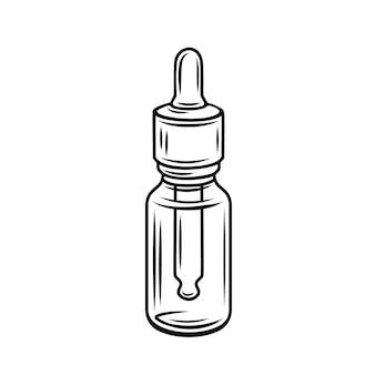 ガラス瓶のアウトラインアイコンの大麻の芽。