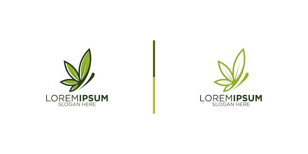 Cannabis butterfly logo design template
