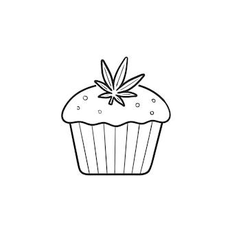 마리화나 잎 손으로 그린 개요 낙서 아이콘이 있는 대마초 케이크. 마리화나 디저트, 의료용 대마초 개념. 인쇄, 웹, 모바일 및 흰색 배경에 인포 그래픽에 대한 벡터 스케치 그림.
