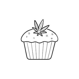 Cannabis cake with marijuana leaf hand drawn outline doodle icon. marijuana dessert, medical cannabis concept. vector sketch illustration for print, web, mobile and infographics on white background.