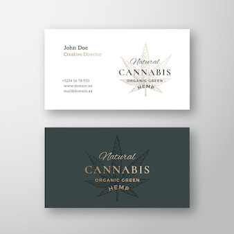 Cannabis cbd hemp leaf sketch abstract  sign or logo and business card template.