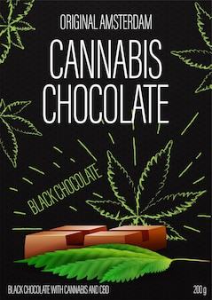 Cannabis chocolate, black package design with cannabis chocolate bar and marijuana leafs in doodle style on background.