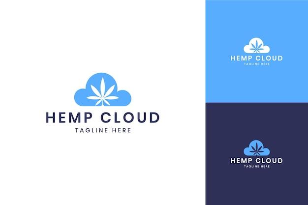 大麻クラウドネガティブスペースのロゴデザイン