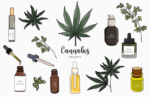 Cannabis collection with bottle,oil,product.