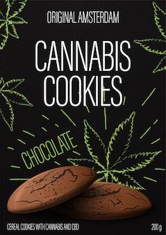 大麻クッキー、背景に落書きスタイルの大麻クッキーとマリファナの葉と黒のパッケージデザイン