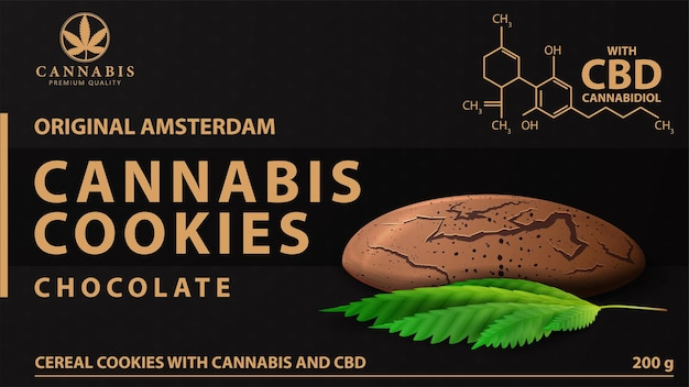 Cannabis cookies, black package with cannabis cookies and marijuana leaf. black cover design of cannabis products