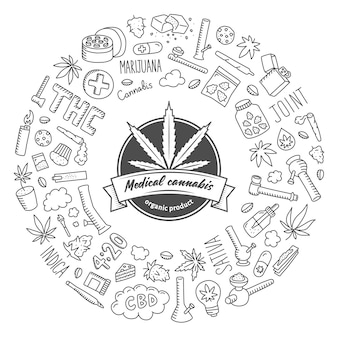 Cannabis doodle poster.