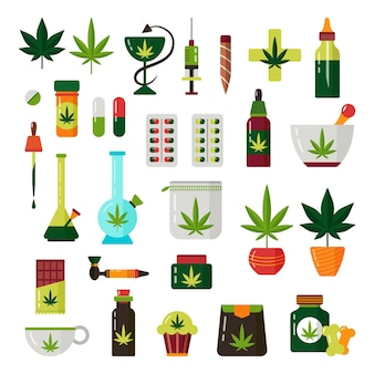 大麻フラットイラストセット。マリファナの植物と医療用オイル。雑草の合法化。葉、丸薬、ボン、水ギセル、タバコ、犬の治療、配達。