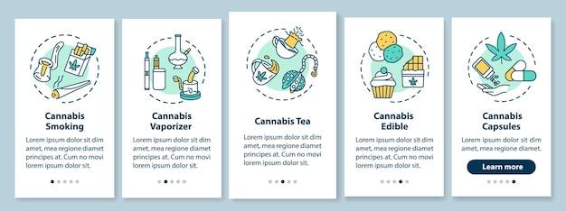 대마초는 개념이 있는 온보딩 모바일 앱 페이지 화면을 형성합니다. 대마초 흡연, 마리화나 알약 연습 5단계 그래픽 지침. rgb 컬러 일러스트가 있는 ui 벡터 템플릿