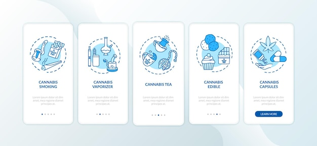 대마초는 개념이 있는 온보딩 모바일 앱 페이지 화면을 형성합니다. 위드 기화기, 마리화나 차 연습 5단계 그래픽 지침. rgb 컬러 일러스트가 있는 ui 벡터 템플릿
