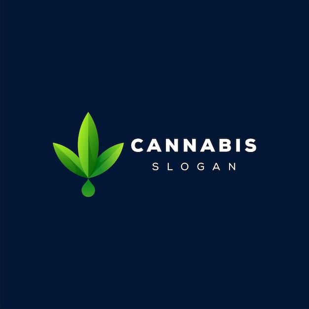 Дизайн логотипа зеленого градиента конопли