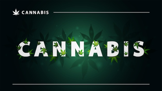 Cannabis, green poster with large white lettering and marijuana leafs on dark background. sign of cannabis with leafs