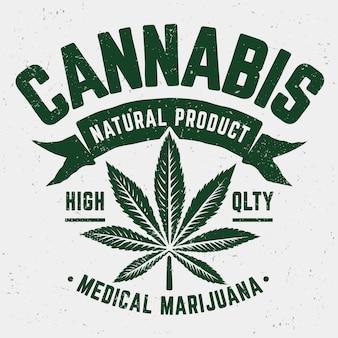 大麻グランジエンブレム。マリファナの葉と風化した昔ながらのモノクロのエンブレム。