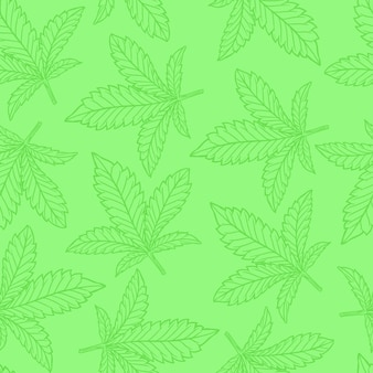 Cannabis or hemp leaf seamless pattern