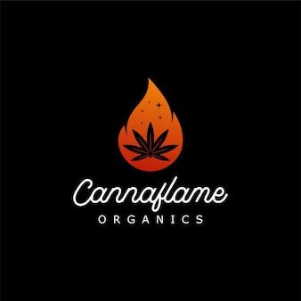 炎のロゴデザインの大麻麻有機物