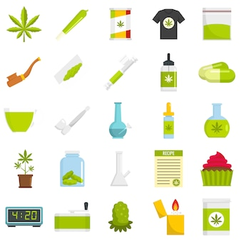 Cannabis icon set