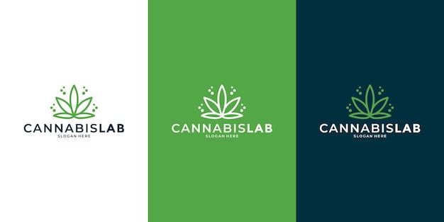 あなたのビジネスの健康やコミュニティケアのための大麻ラボラインアートスタイルのロゴデザイン