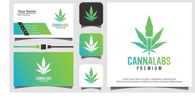Cannabis lab logo template, nature fresh icon, leaf illustration vector