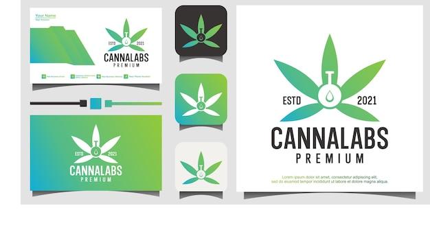 Cannabis lab nature logo template