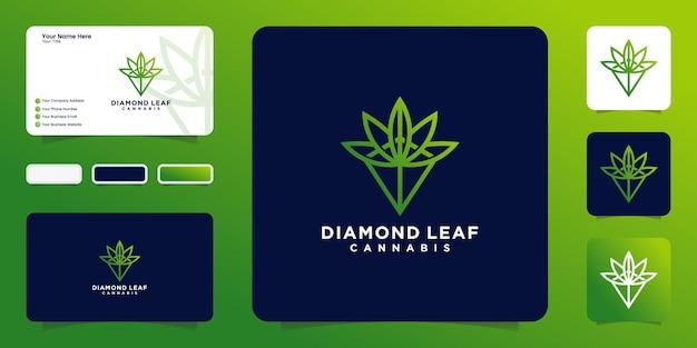라인 아트 및 명함 스타일의 대마초 잎과 다이아몬드 로고 디자인 영감