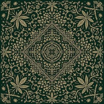 대마초 잎과 해바라기 빈티지 패턴 두건