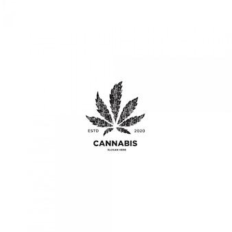 大麻葉グランジビンテージロゴ