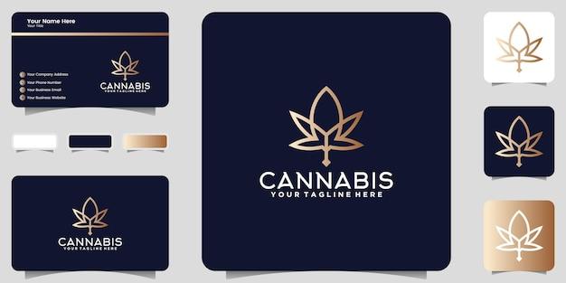 라인 아트 스타일 로고와 명함 디자인으로 대마초 잎 로고 디자인 영감