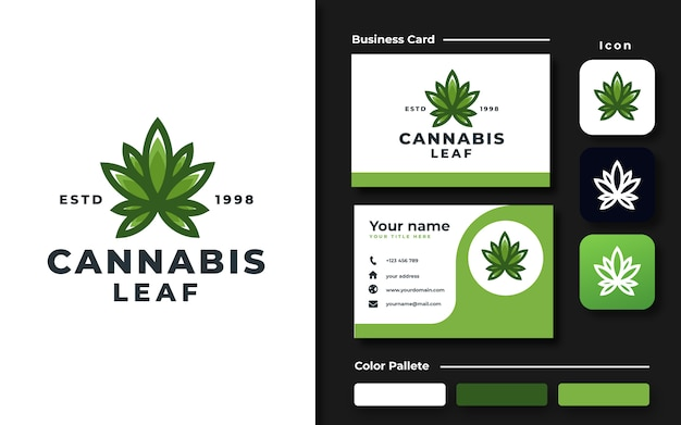大麻葉のロゴのテンプレートと名刺