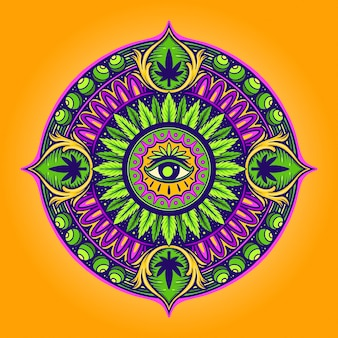 Cannabis leaf mandala psychedelic vector illustrations for your work logo, mascot merchandise t-shirt, stickers and label designs, poster, greeting cards advertising business company or brands.