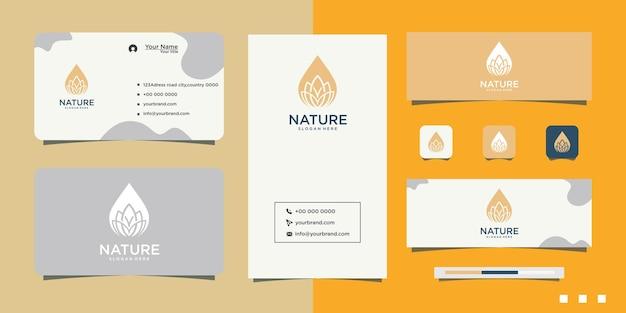 대마초 잎 기름 로고 디자인 및 명함