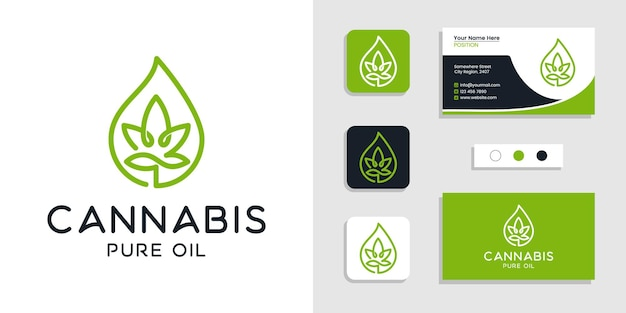 Cannabis leaf pure oil logo concept and business card design inspiration template