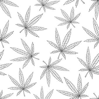 Бесшовный узор из листьев каннабиса в винтажном стиле гравировкой для курения или медицины