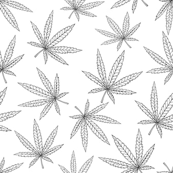 Cannabis leaf seamless pattern in vintage engraved style for smoking or medicine