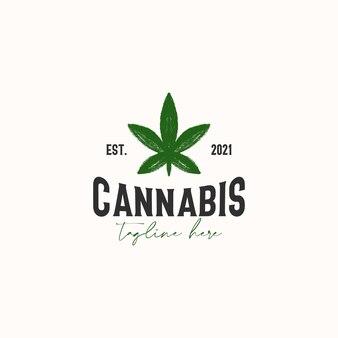 Шаблон логотипа винтажные деревенские хипстеры листьев конопли