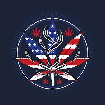 旗の形のイラストフラットデザインの大麻の葉